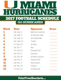 2017 Miami Hurricanes Football Schedule