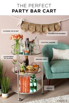 Throwing a wedding or baby shower this spring? Setting up a beautiful and functional spring bar cart will take some of the hosting pressure off of you and impress your guests. Start by stocking the cart with the essentials: assorted glasses, mixers, alcoh