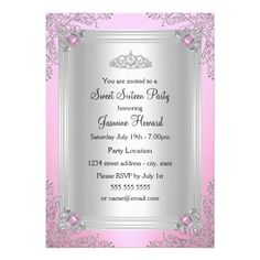 pretty bow tiara princess baby shower invitation | princesses, Baby shower invitations