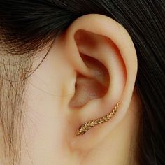 Gold Plated Feather Earring – The Hanging Chain