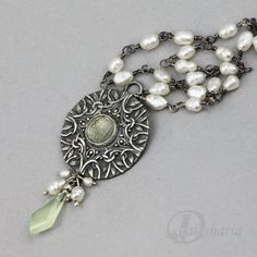 Green fairy  silver pendant with prasiolite by drakonaria on Etsy, $240.00