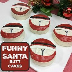 These Hilarious Santa Butt Ding dong cakes are perfect for a funny Office party food. The grownups will have a giggle at this festive joke. Poor Santa.  These cakes are great for taking to Christma…