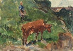 Een aquarel van Arnold Koning: Een boerin bij haar koe. In potlood staat Lannage 1889.
