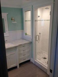 Craftsman bathroom subway tile shower.