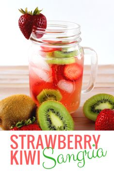 """Strawberry Kiwi Sangria Recipe with White Wine – a delicious """"cocktail-like"""" drink filled with strawberry & kiwi fruit PERFECT for warm sunny days or nights by the fire!"""