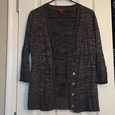 Heather grey & black horizontal striped cardigan Sleeves hit past the elbow Merona Sweaters Cardigans