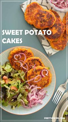 These sweet potato cakes a delicious light meal and the perfect vegan meal for dinner. Can be made ahead and along perfect for lunch bowls.