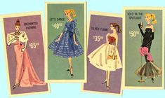 Vintage Barbie board game of the 1960: cards of ensemble choices for the dance