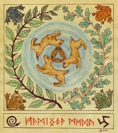 The three hares symbol which forms the three-legged trefot or triskele symbol which symbolizes the ever-full well of magical inspiration as well as the meeting of the three realms of earth, sea, and sky. Larp, Les Runes, Fairy Tree, Mandala Print, Asatru, Norse Mythology, Book Of Shadows, Occult, Artwork