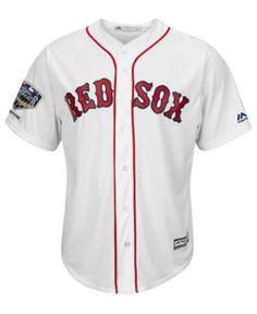 123321cf Majestic Men's Boston Red Sox 2018 World Series Champ Patch Replica Cool  Base Jersey - White