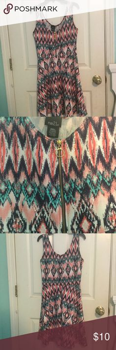 Colorful Patterned Dress Super colorful and cute dress with front zipper. Size small. Gently worn. Rue 21 Dresses Midi