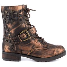 Mia Women's Spikke - Bronze Metal ($40) ❤ liked on Polyvore featuring shoes, boots, ankle booties, gold, buckle booties, block heel booties, low heel booties, ankle boots and bootie boots