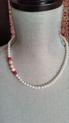 Knotted White Glass Pearl Necklace, White Pearl Necklace, Fuchsia Details, Mottled Glass, Bridesmaids Necklaces, Everyday,  Simple, Necklace by CrystallureDesigns on Etsy