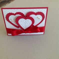 Valentine card ~hearts, ribbon, embossed paper in red & white