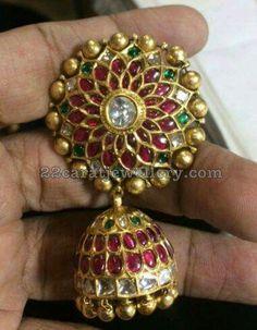 92.5 Silver Heavy Kundan Jhumkas