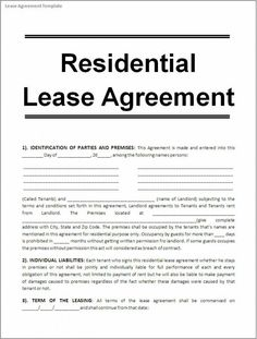 Rental Lease Agreement Template CakepinsCom  Rental Agreement
