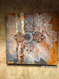 Canvas art using Masters rust and patina. By Kathy Boyd of KB Designs Minnesota Diy Wall Art, Diy Art, Creative Workshop, Rustic Art, Modern Masters, Stencil Painting, Reno, Decoupage, Art Techniques