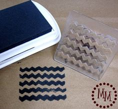 DIY Chevron Stamp at The Scrap Shopped Blog - the stamp is made with rubber bands