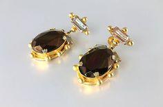Victorian revival Earrings, Saphiret Byzantine Earrings, Vintage Screw Back, Mocha Brown glass