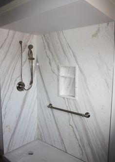 Custom Shower with Volakas Marble Designer Stone Panels Real Stone Real thin