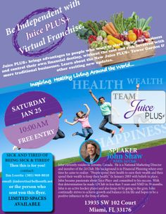 Be Independent with Juice PLUS+ Virtual Franchise! John Shaw will be speaking in Doral Miami, FL tonight January 24 2014 and tomorrow morning January 25 2014!  Any Questions? Please contact our Juice PLUS+ events please contact our Juice PLUS+ support team at info@juicepluscanada.com  Inspiring Healthy Living Around the World.