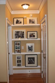Gallery Wall Picture Ledge Idea ~ What a great use of those darned shallow-ended hallways