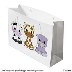 Cute baby cow giraffe hippo cartoon