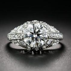 2.08 Carat Diamond Art Deco Style Vintage Engagement Ring