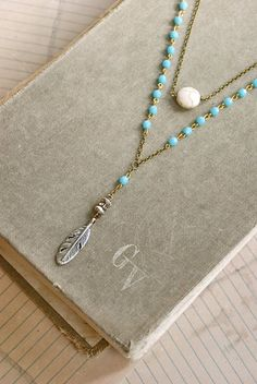 Gwen.. had her own style features czech glass light blue glass beaded chain, silver feather,silver beads,rhinestone bead,white turquoise/howlite