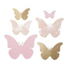 MÅNGFALD Dekorace na dárkové balení, 6 ks IKEA Jemným složením zadních křídel vytvoříte trojrozměrné motýli.