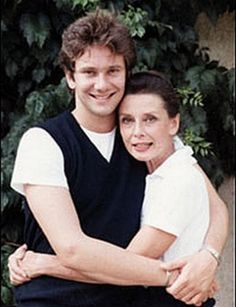 Audrey Hepburn with her son - hugging our sons makes us feel small - yet safe; being tucked under their arm.