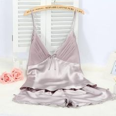 Ladies Sexy Silk Satin Pajama Set