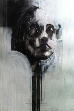Monocle / Charcoal on paper / Bastien Lecouffe Deharme / www.roman-noir.com