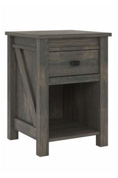 This farmhouse style weathered oak nightstand adds a unique and stylish touch to your bedroom. You can place a reading lamp and alarm clock on the top shelf of the nightstand and store reading glasses and chargers in the drawer. Rustic Nightstand, Rustic Furniture, Bedroom Furniture, Furniture Decor, Furniture Sets, Furniture Removal, Country Themed Bedrooms, Bedroom Themes, Bedroom Decor