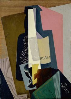 Gino Severini (1883-1966, Italy; futurism) | Still life with Marsala Bottle, 1917