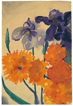 Emil Nolde (1867 – 1956)  Iris and Dahlia, N/D, Watercolour on Japan paper