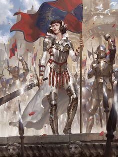 Artist: Lius Lasahido aka lasahido (Polar Engine Studio) - Title: Joan of Arc - Card: Glorious Jehanne Darc Character Concept, Character Art, Concept Art, Character Design, Character Sheet, Fantasy Armor, Medieval Fantasy, High Fantasy, Fantasy Girl