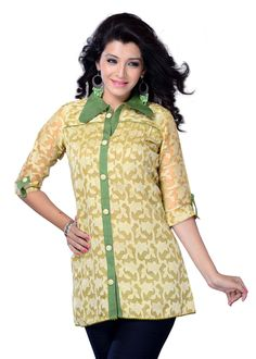 Buy Beige Color Jacquard Printed Kurti Online – Fashionic: Indian Ethnic Wear