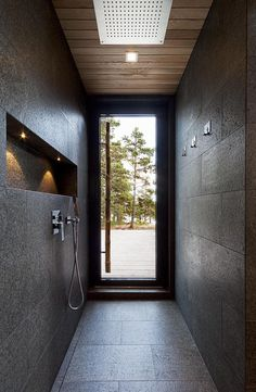 Villa Lulla by Joarc Architects is a real treasure in the world of architecture. With its sculptural lines and design, Villa Lulla is a tribute to Modern Saunas, Upside Down House, Larch Tree, Sauna Design, Model House Plan, Bathroom Tile Designs, Bathroom Ideas, Mosaic Backsplash, Home Spa