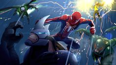 Spidey vs The Sinister Six - Celine Kim Spiderman Sketches, Marvel Drawings, Spiderman Art, Amazing Spiderman, Marvel Fan Art, Marvel Heroes, Marvel Avengers, Best Marvel Characters, Spectacular Spider Man
