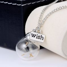 1PC Wish bottle Necklace Real Dandelion Seeds Water Drop Bottle Botanical Pendant Necklace For Women Free Shipping Seed Inside