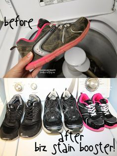 Biz Stain Fighter and detergent booster is perfect for cleaning dirty and smelly shoes!