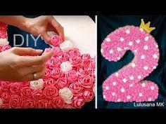 DIY: Объемная цифра из гофрированной бумаги с цветами на день рождения. Мастер класс - YouTube