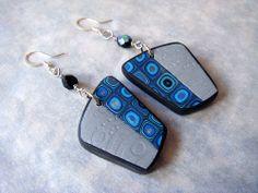 Blue Klimt and Metallic Silver Earrings