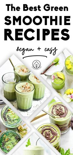 This stunning roundup of 20+ easy to make, budget-friendly and healthy plant-based smoothie recipes features all the different colors! From strawberry banana smoothies to smoothie bowls and spirulina green smoothies, start your morning on a nutritious note with these superfood add-ins. We feature beautiful smoothie bowls, share the best toppings, health benefits and easy creations of dairy-free smoothies that are bursting with nutrients and flavor! Raw Vegan Smoothie, Vegan Smoothie Recipes, Best Green Smoothie, Green Smoothies, Delicious Vegan Recipes, Banana Smoothies, Easy Smoothies, Superfood Smoothies, Whole Food Recipes