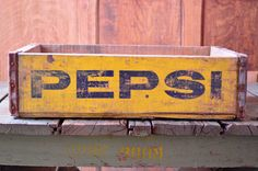 VINTAGE PEPSI CRATE, WOOD PEPSI CRATE, 1960S WOODEN PEPSI CRATE  Very nice vintage Pepsi crate. Colors on one side are still strikingly bright,