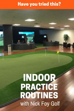 Try out this indoor golf practice routine to practice your golf putting, chipping, and swing at home! Gifts For Golfers, Golf Gifts, Home Golf Simulator, Golf Warehouse, Golf Room, Cheap Golf, Golf Green, Golf Simulators, Golf Practice