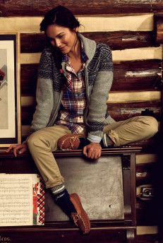 Love this combination. Cozy sweater and flannel with fuzzy socks, moccasins and khakis.