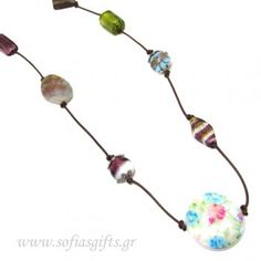Handmade long necklace with various stones and painted vintage buckle - Sofia - handmade jewlery & accessories