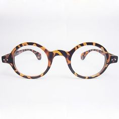 round eyeglass frames tortoise shell   ... Vintage Retro Round Amber Leopard Tortoise Shell Eyeglass Frame 3020